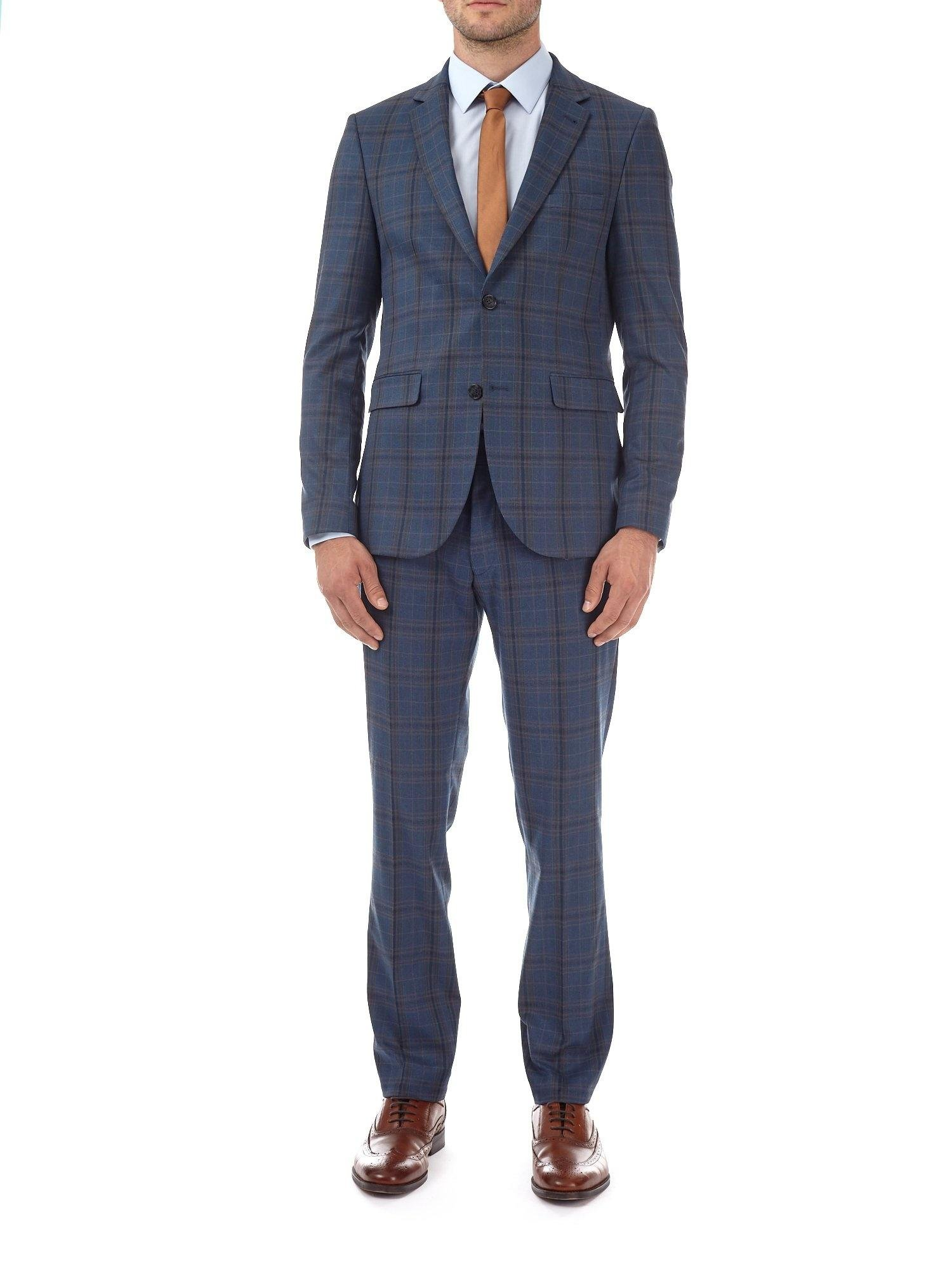 Burton Synthetic Blue Multi Checked Skinny Fit Suit Jacket for Men