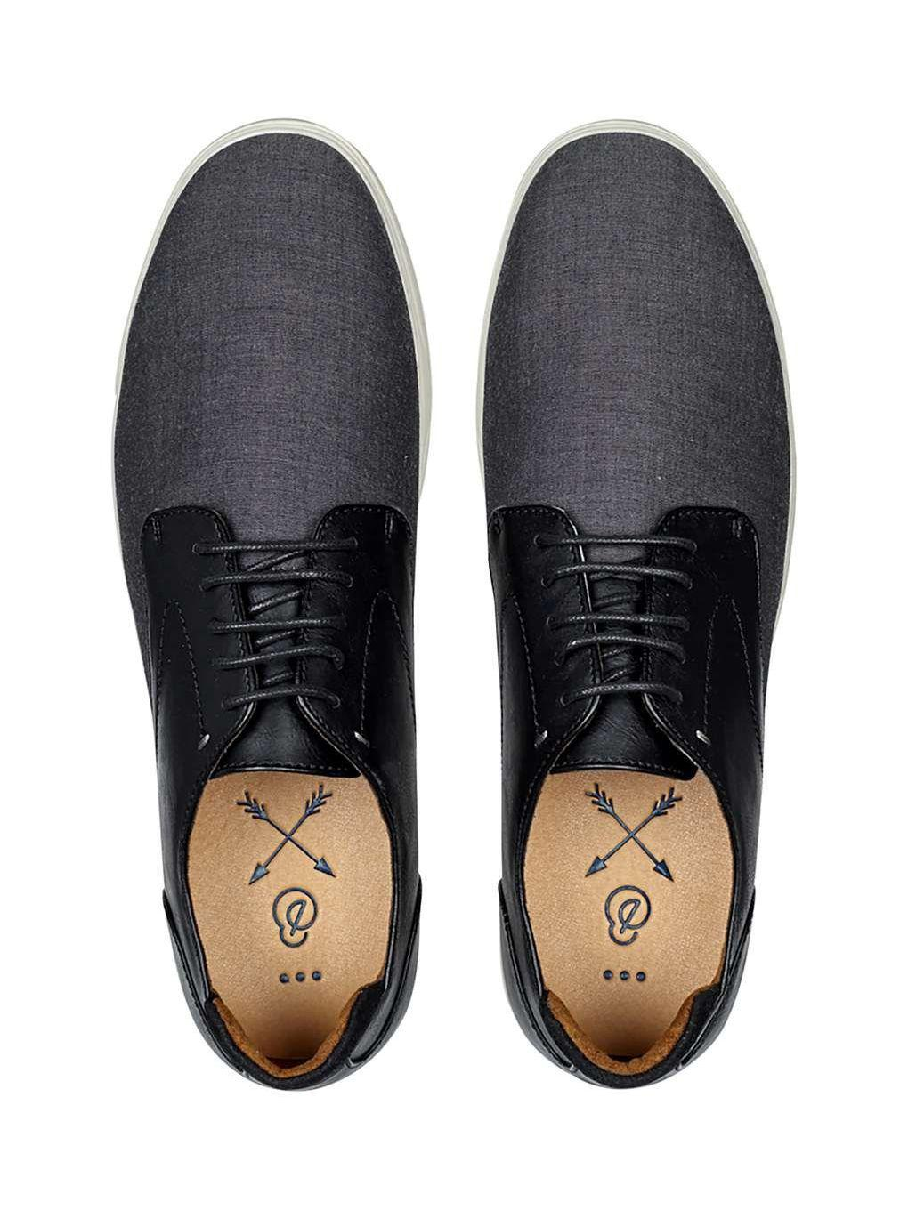Burton Synthetic Black Chambray Derby Shoes for Men