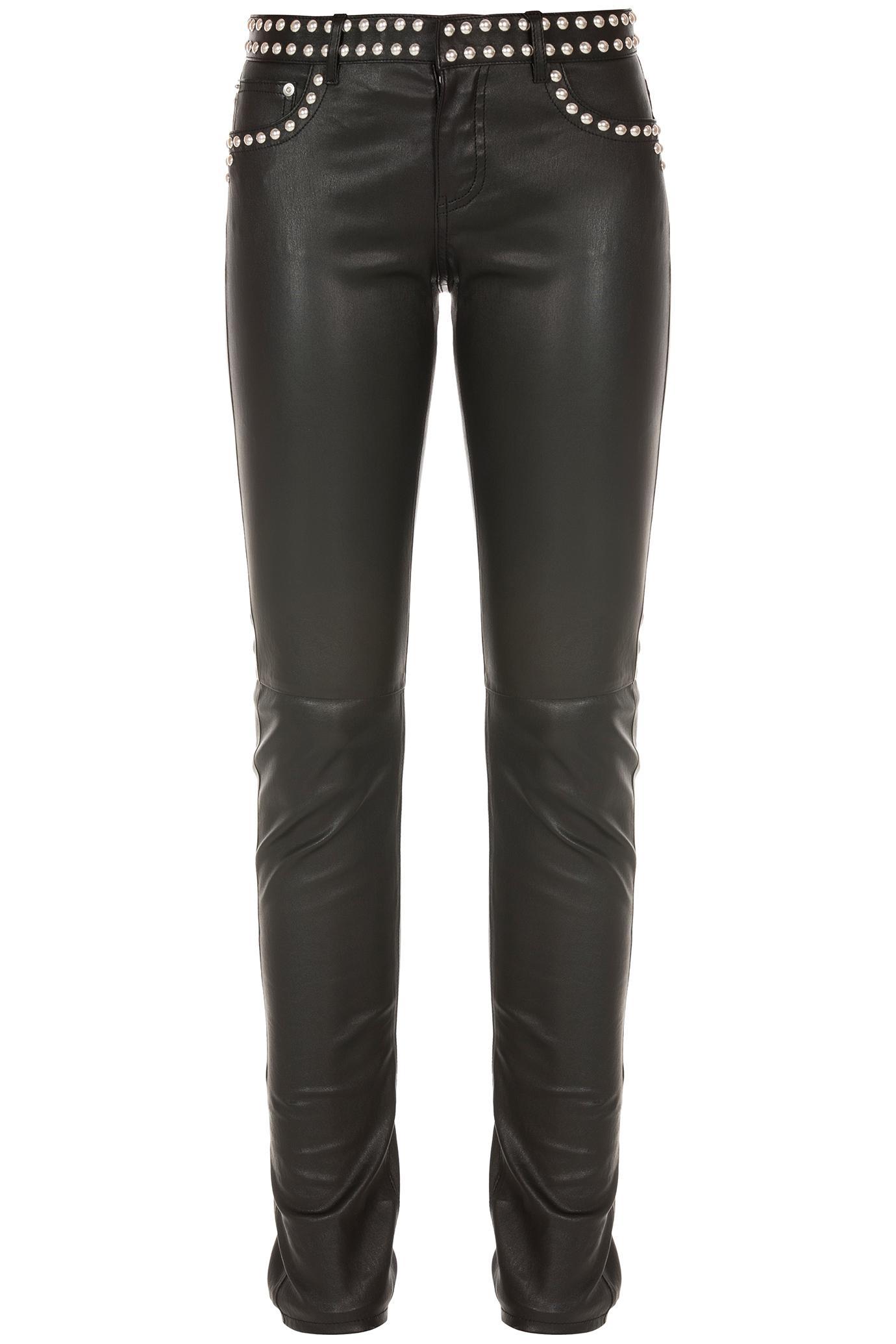Saint Laurent Studded Leather Pants In Black Lyst