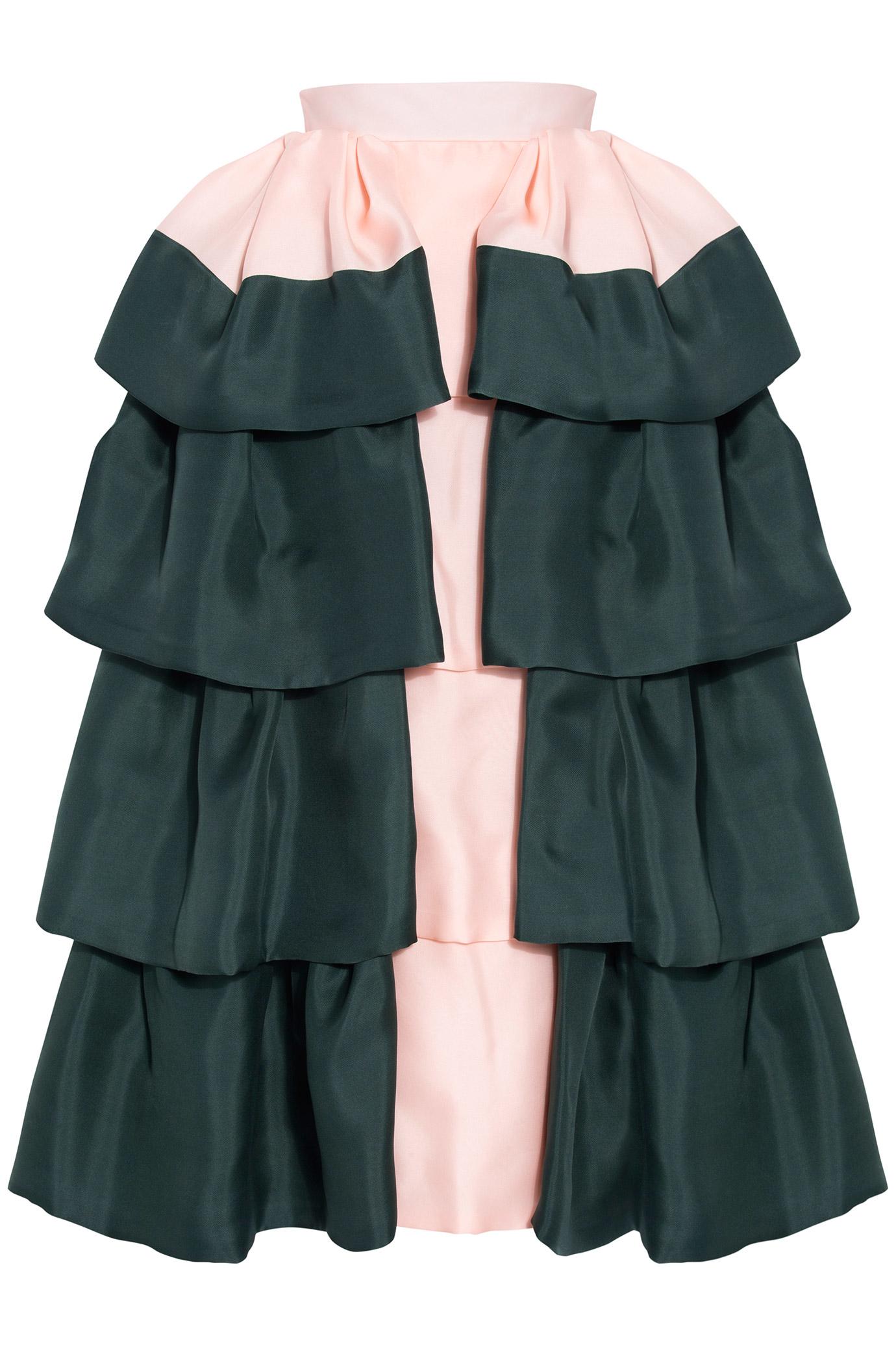 Delpozo Ruffled Long Skirt in Black | Lyst
