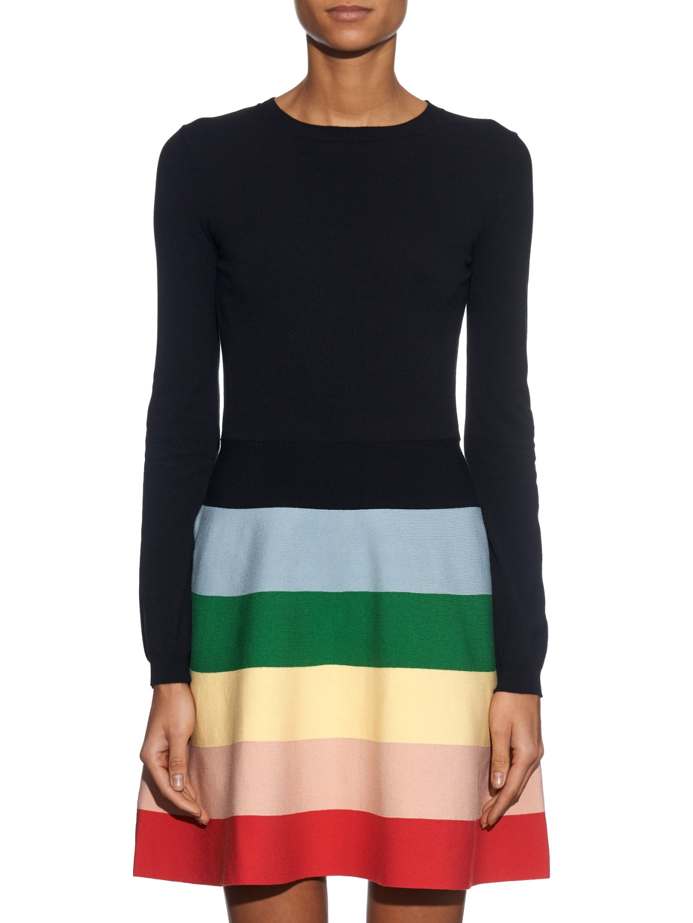 valentino rainbow knitted dress in black lyst