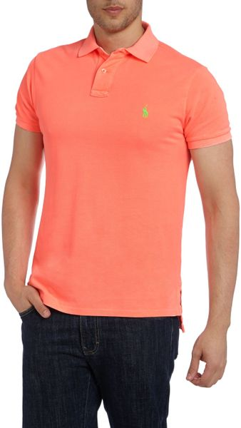 Polo ralph lauren neon polo shirt in red for men coral for Coral shirts for guys
