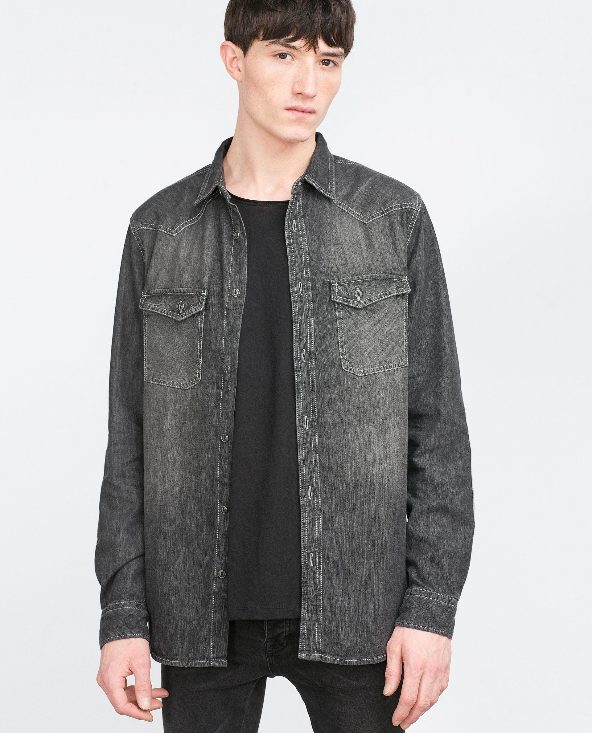 zara denim shirt in gray for men lyst
