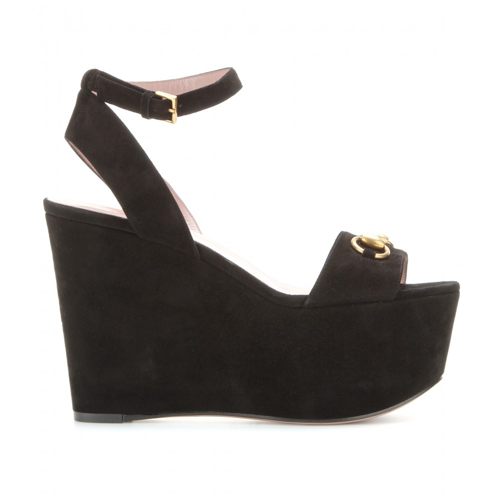 gucci suede wedge platform sandals in black noir lyst