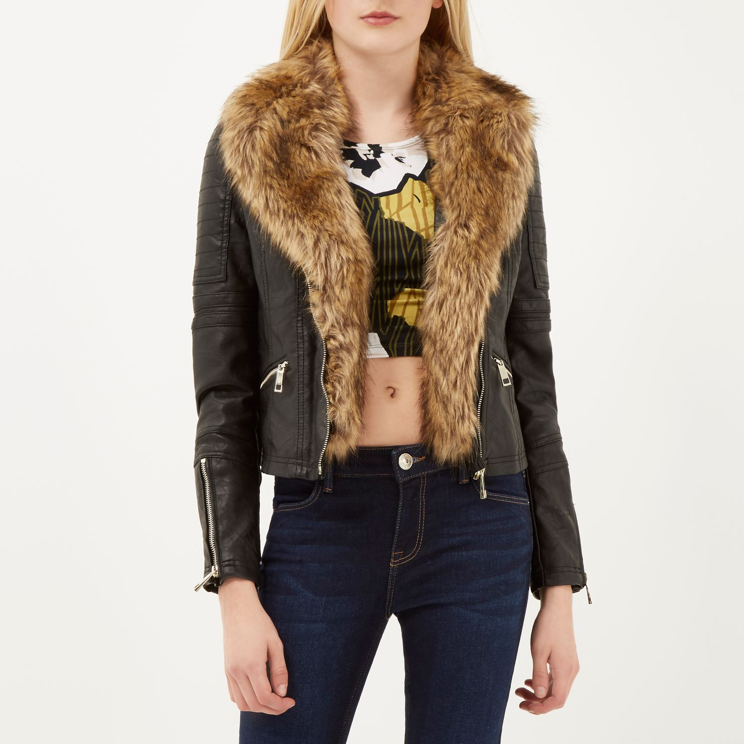 River island Black Leather-look Faux Fur Biker Jacket in Black | Lyst