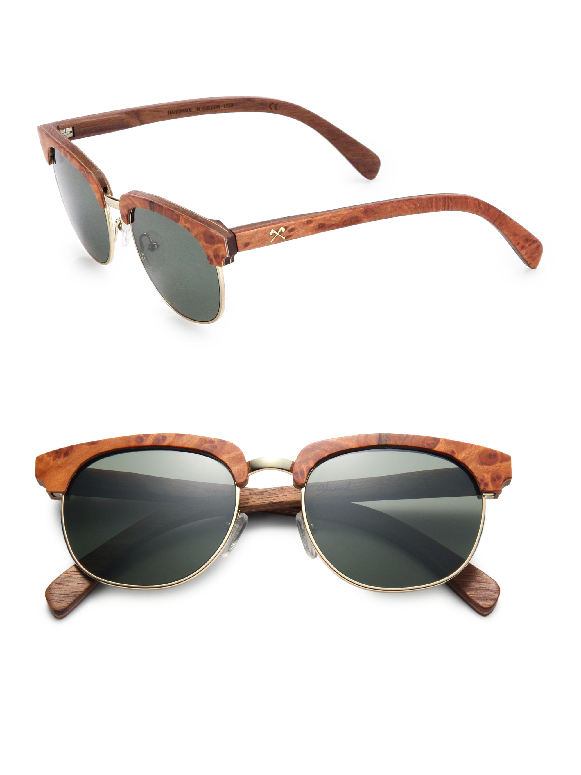 Shwood Eugene Redwood Burl & Metal Round Sunglasses in Red ...