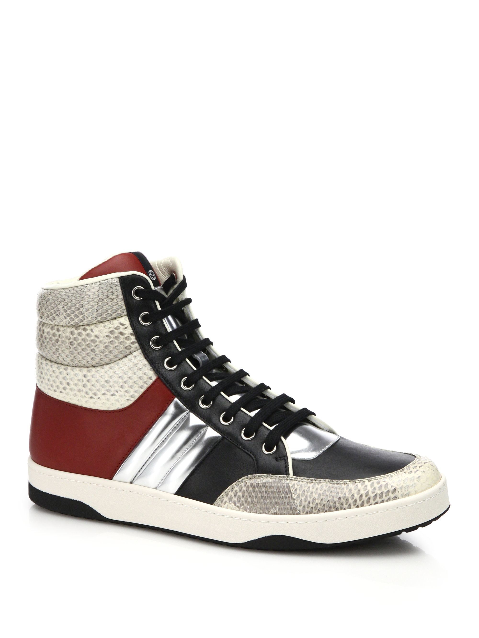 9a59bbc848e6a Gucci Ronnie Snakeskin   Leather High-top Sneakers for Men