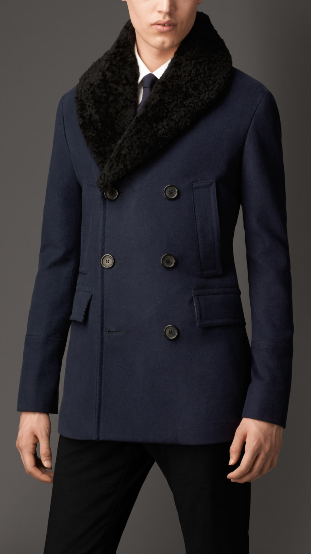 Burberry Cotton Blend Pea Coat With Shearling Topcollar In