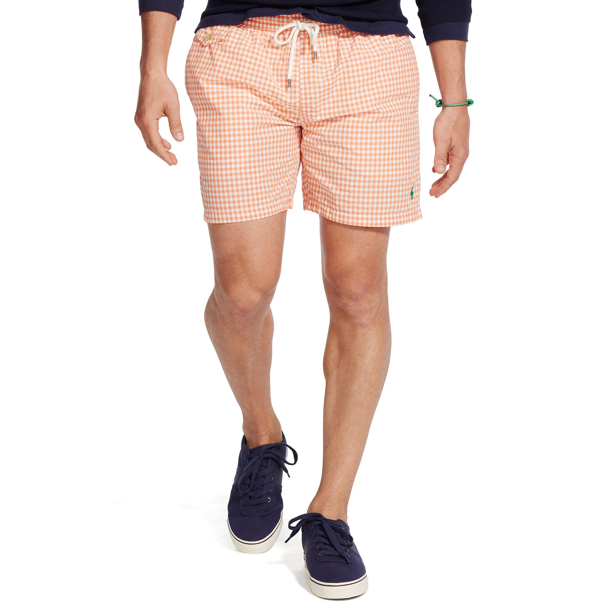 Lyst Polo Ralph Lauren 5 Inch Traveler Swim Trunk In Orange For Men