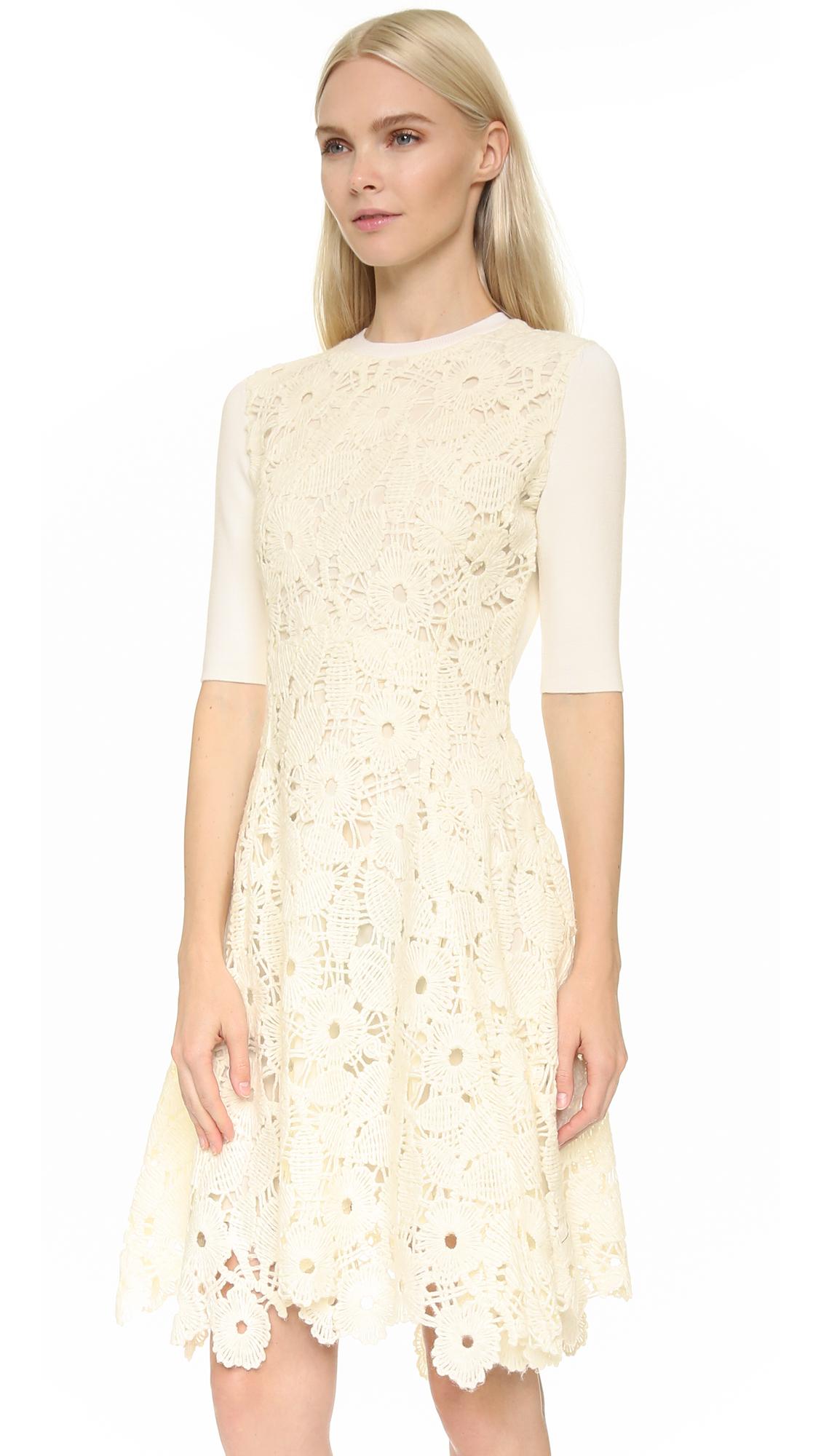 Lela Rose Lace Knit Dress In Ivory
