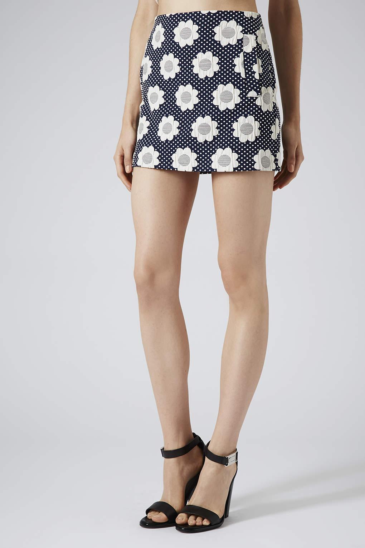 topshop flower power skirt in blue lyst