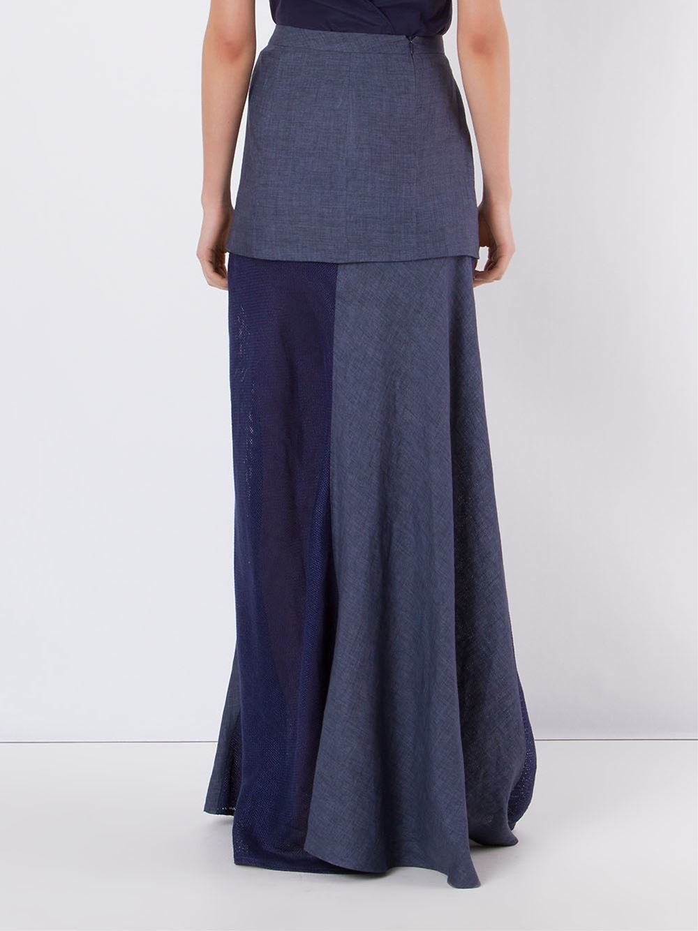 giuliana romanno panel layered skirt in blue lyst
