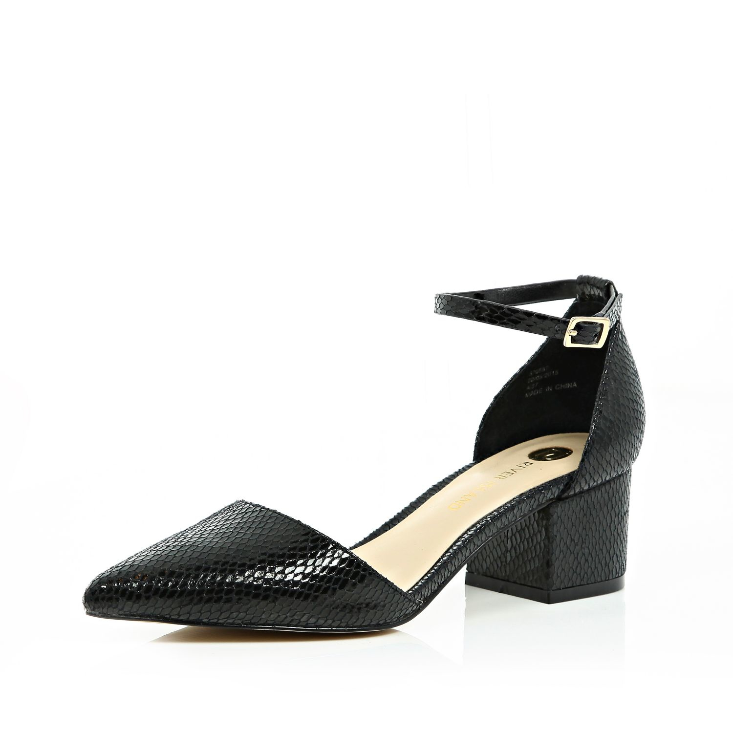 8032bee220d436 River Island Black Block Heel Pointed Shoes in Black - Lyst