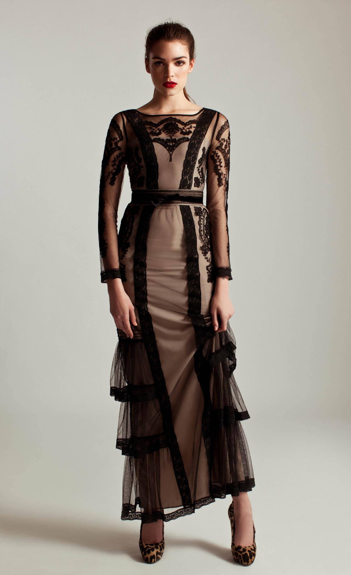 Alice By Temperley Long Sleeved Botanical Dress In Black