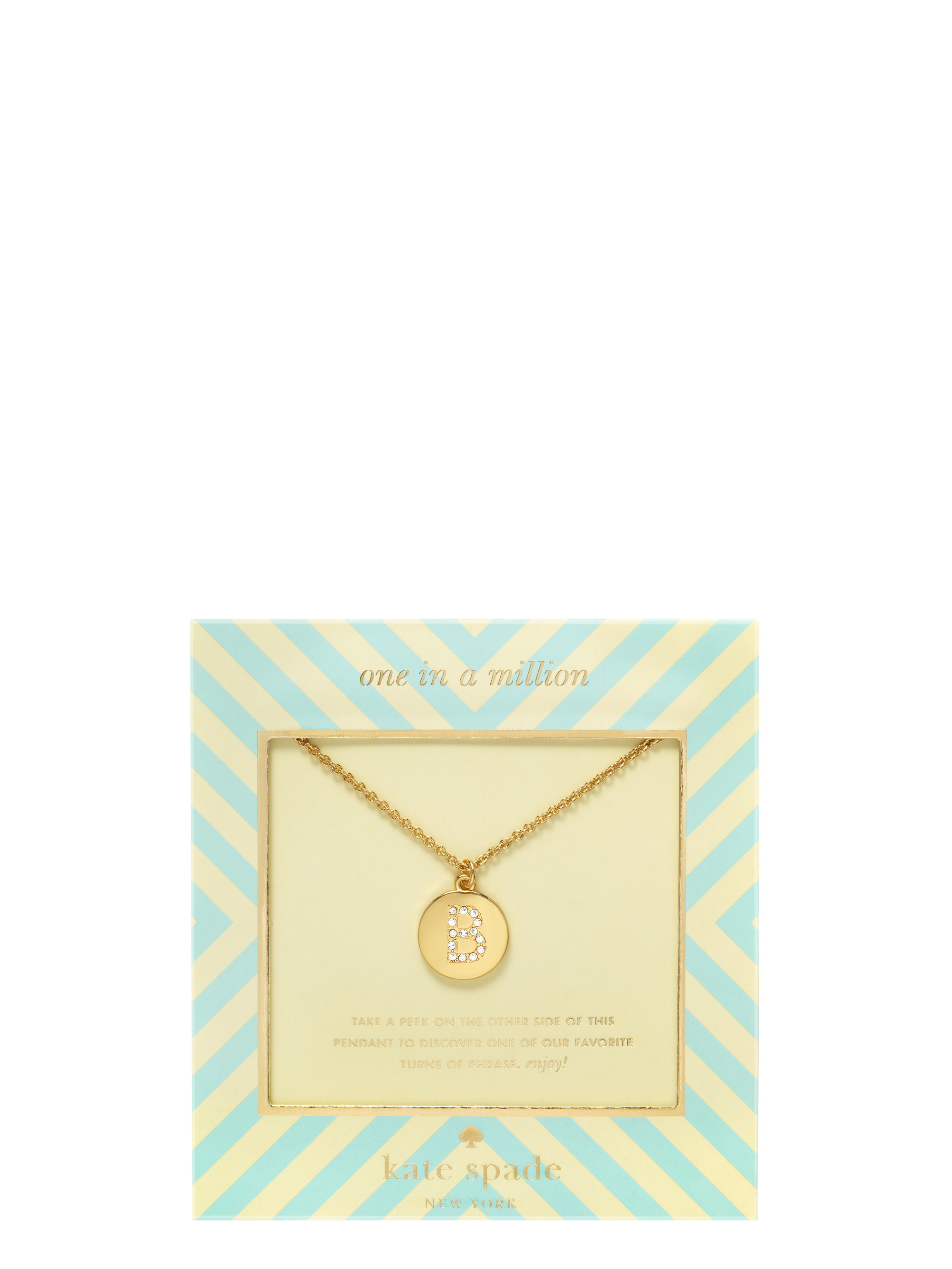 Kate Spade B Pave Initial Letter Pendant in Oatmeal (Natural)