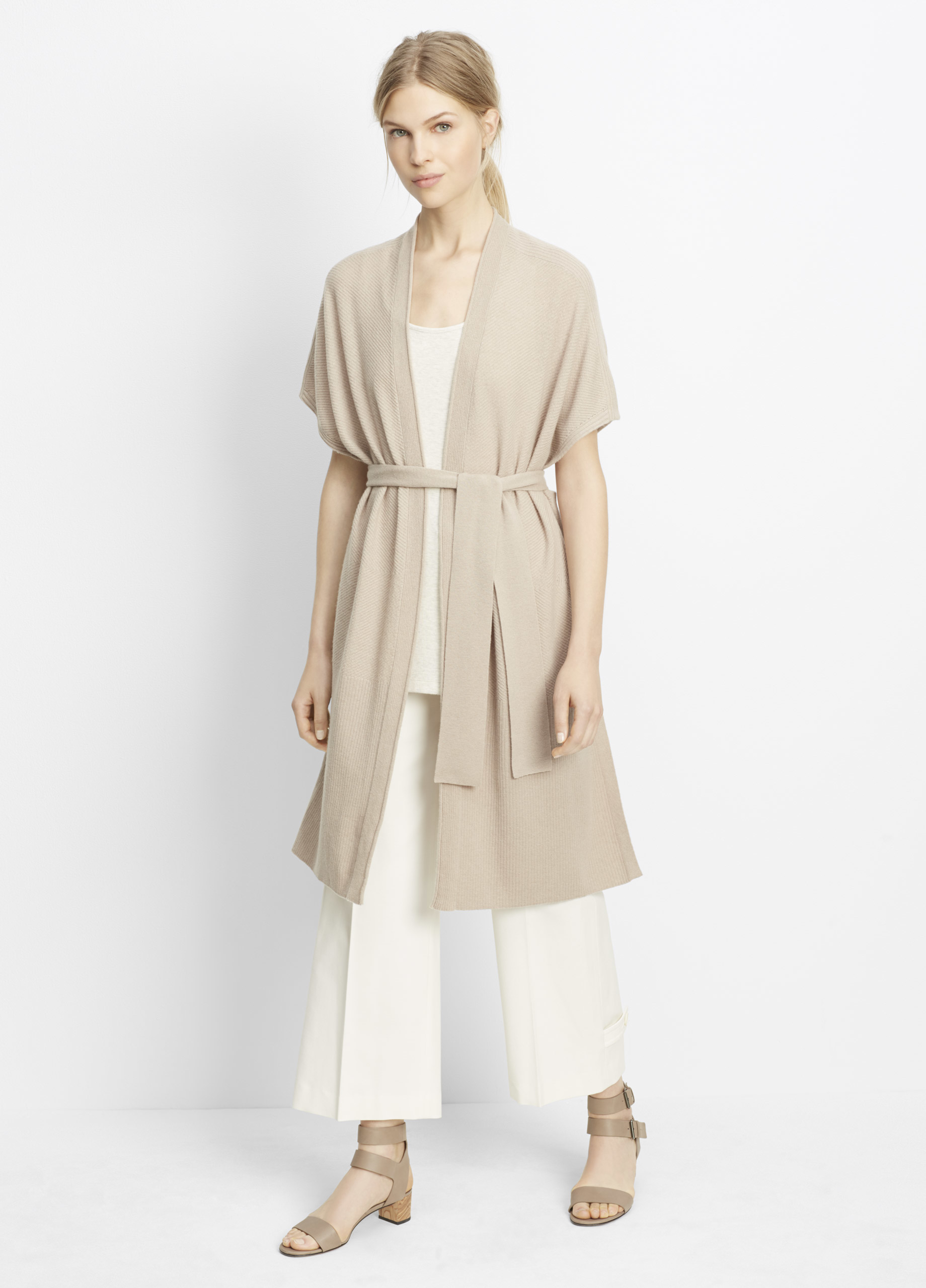 Vince Wool Cashmere Texture Stitched Sleeveless Long