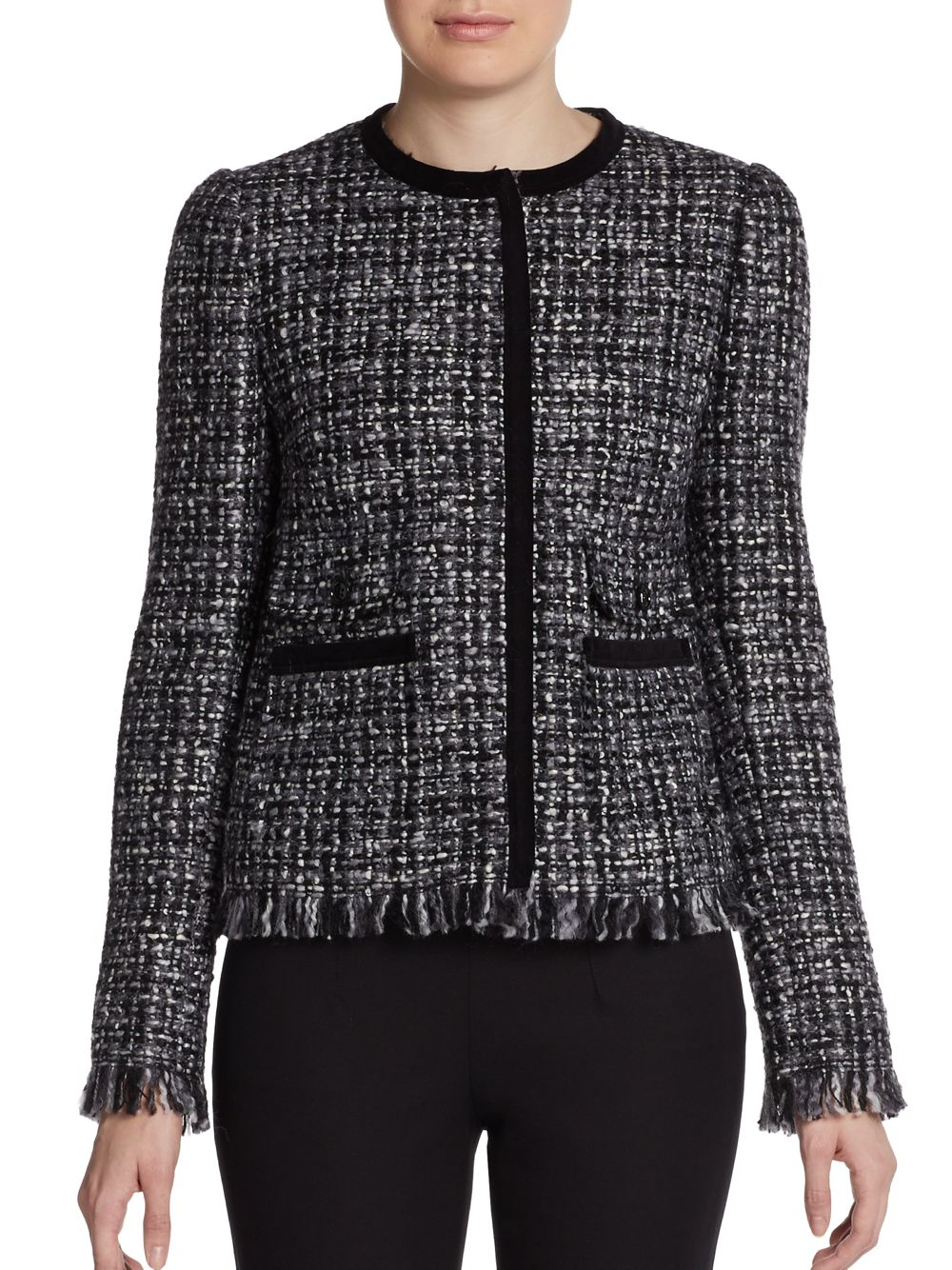 dolce gabbana wool blend frayed tweed jacket in gray lyst. Black Bedroom Furniture Sets. Home Design Ideas