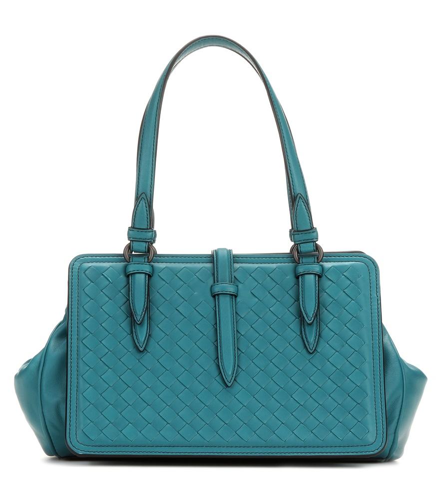bottega veneta intrecciato leather handbag in blue lyst