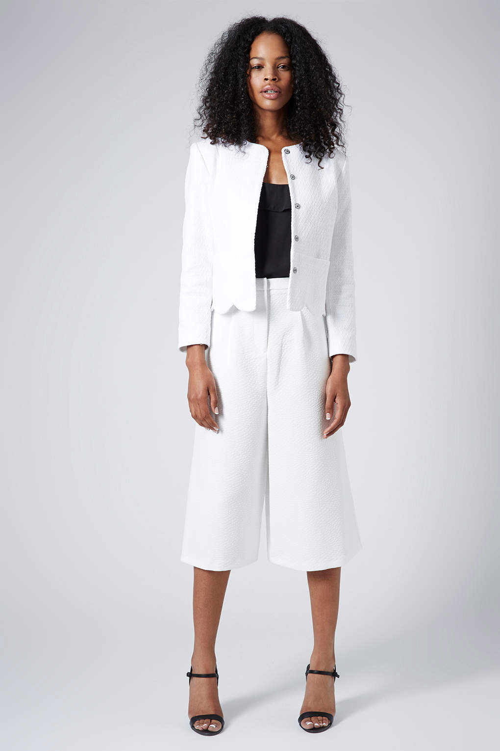 Topshop womens textured snakeskin culottes white in white for Womens denim shirts topshop