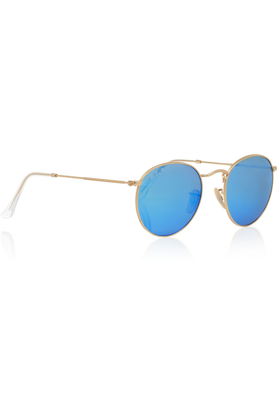 48571c7b1d Lyst - Ray-Ban Round-Frame Gold-Tone Polarized Mirrored Sunglasses in  Metallic ...