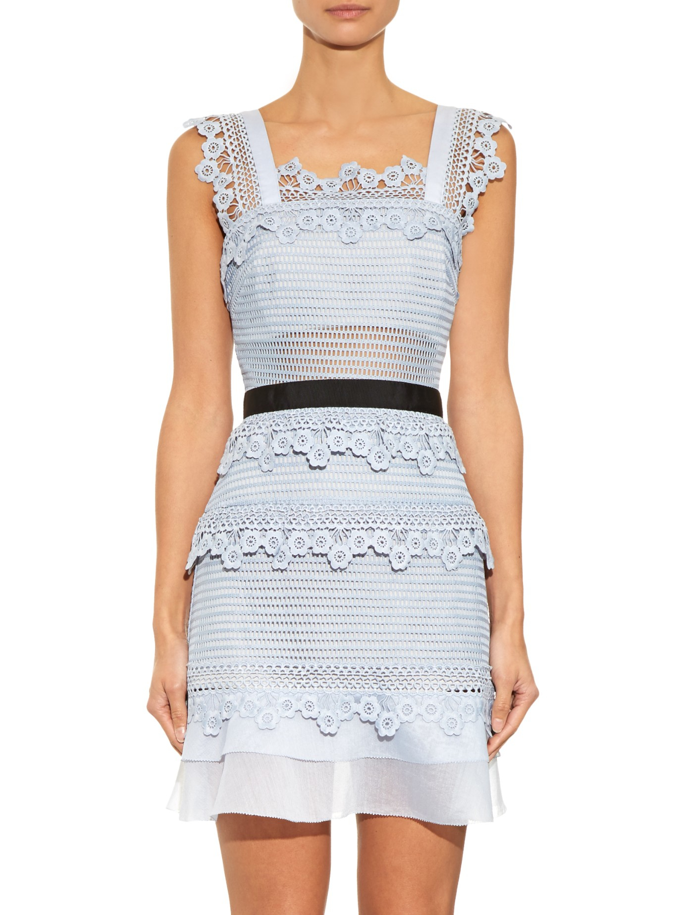 Self-Portrait Petunia Lace Mini Dress in Blue - Lyst