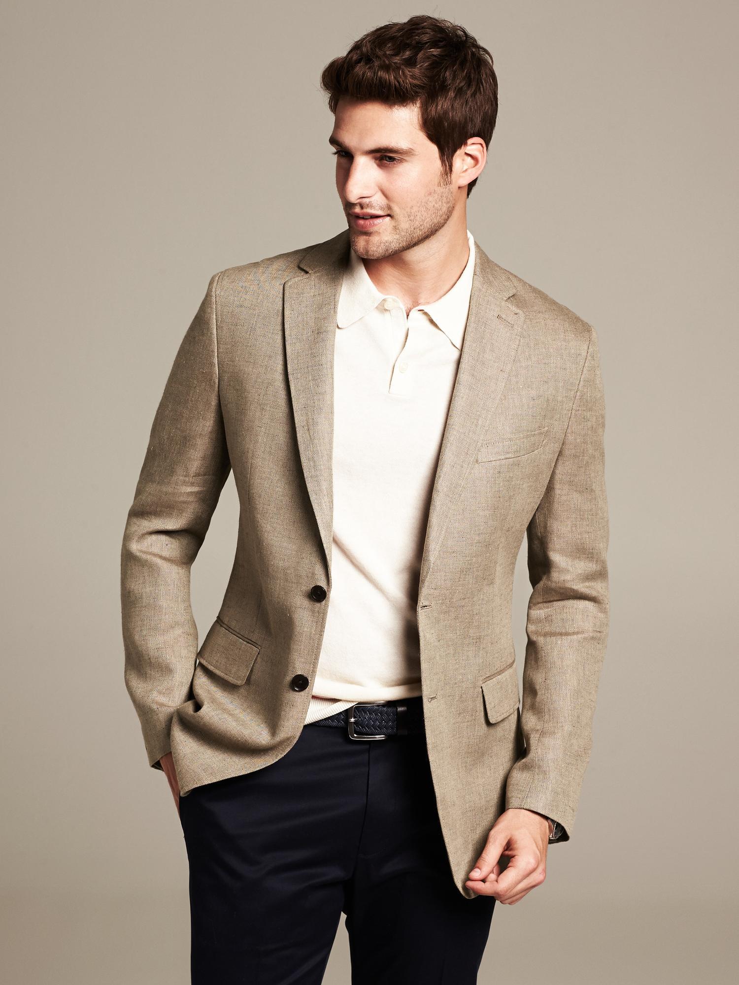Blazers For Men Pinterest: Banana Republic Tailored-Fit Khaki Linen Blazer In