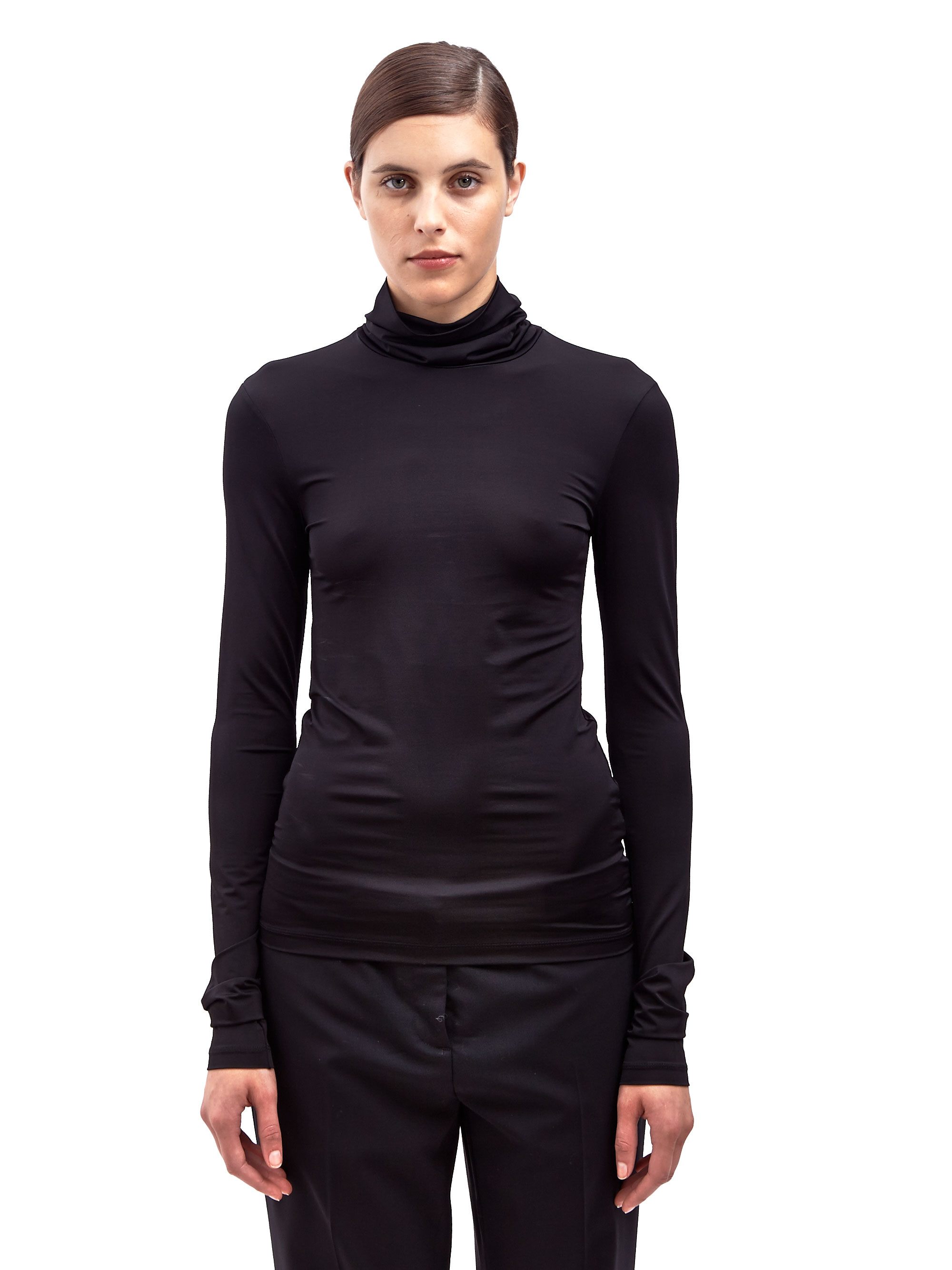 Acne Studios Womens Valeria Shiny Long Sleeved High Neck Top in Black