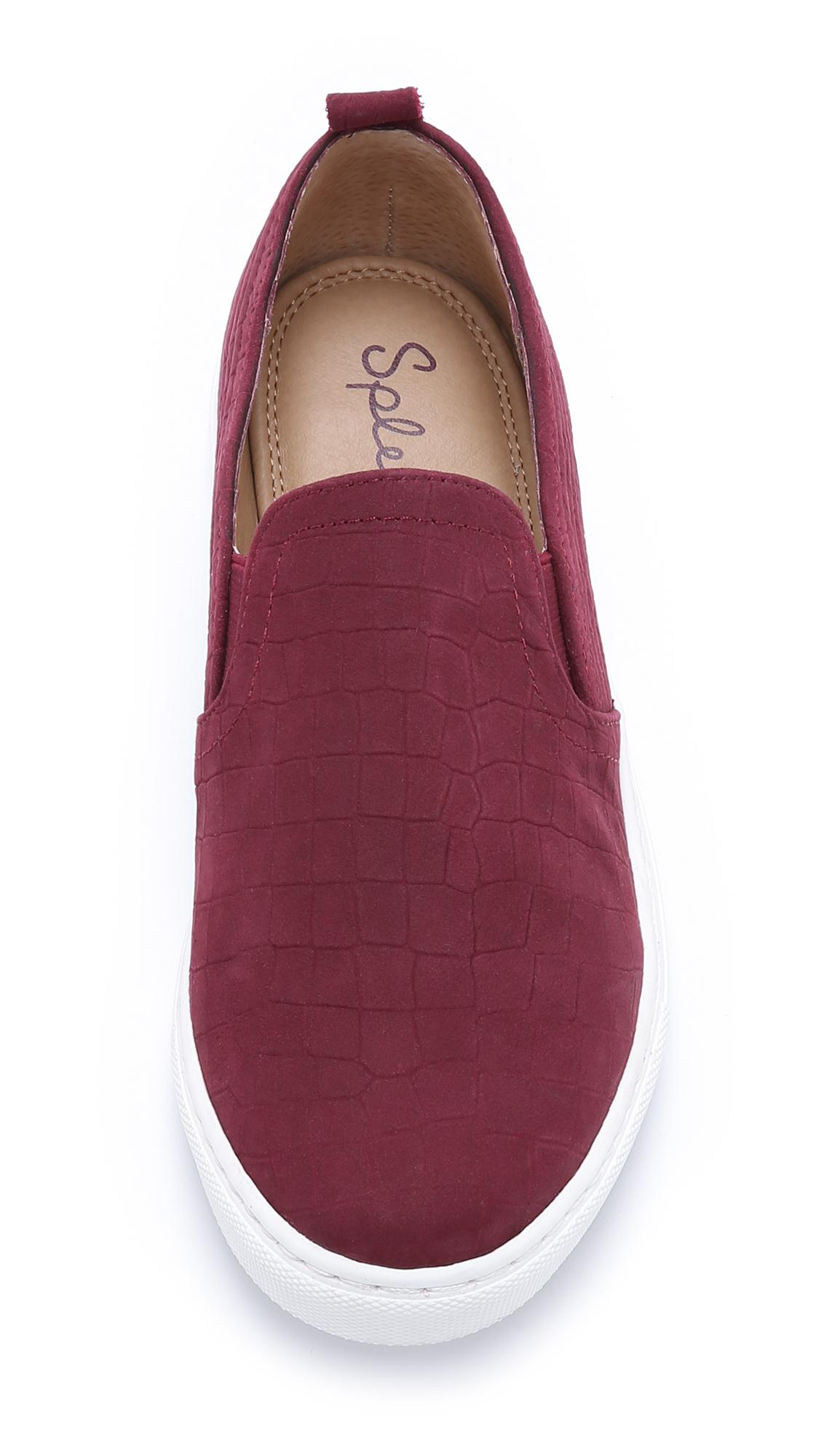 burgundy slip ons