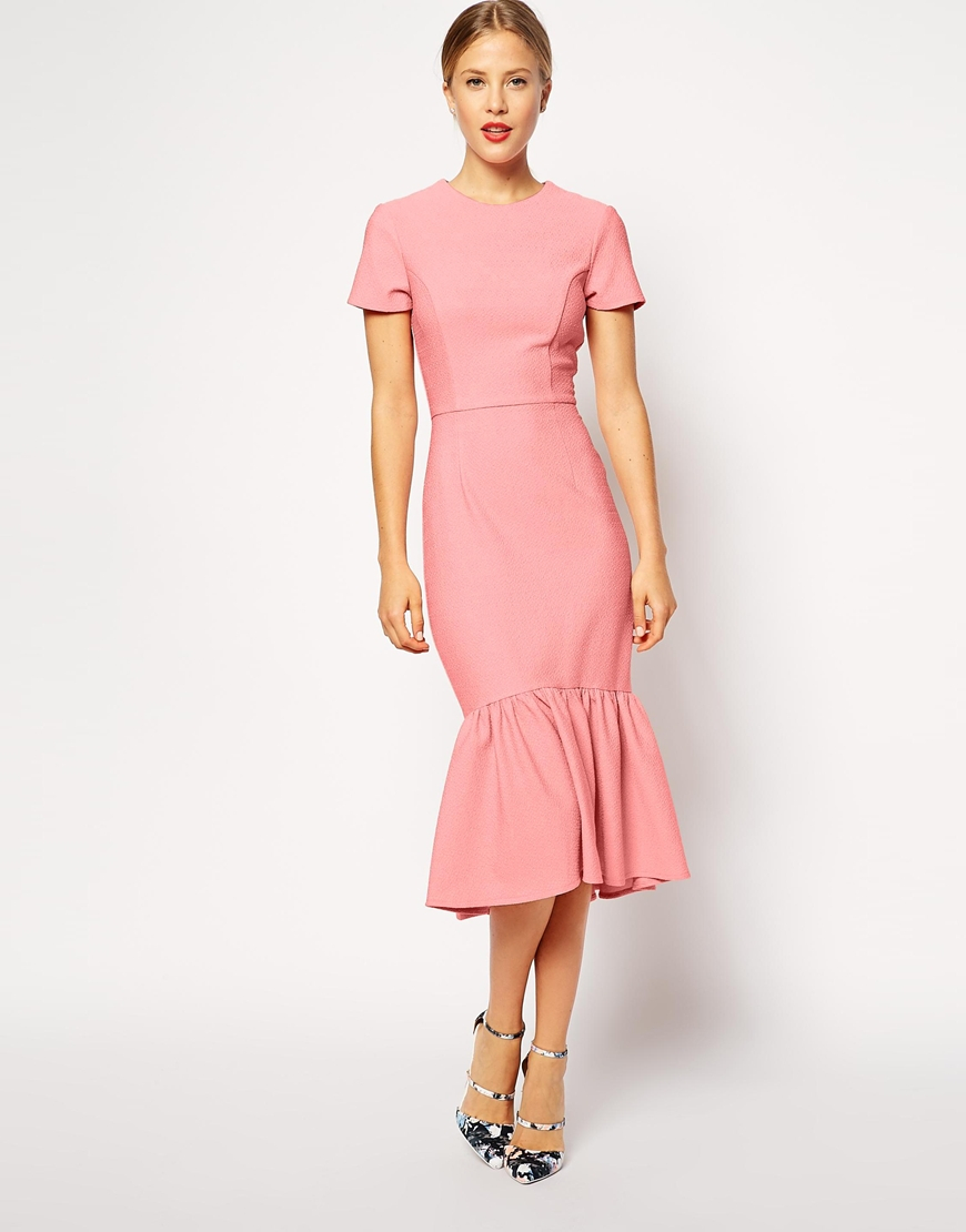 Asos Pencil Dress With Peplum Hem In Texture In Pink