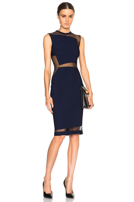 Lyst mugler mega milano mesh insert dress in blue for Fashion designer milano