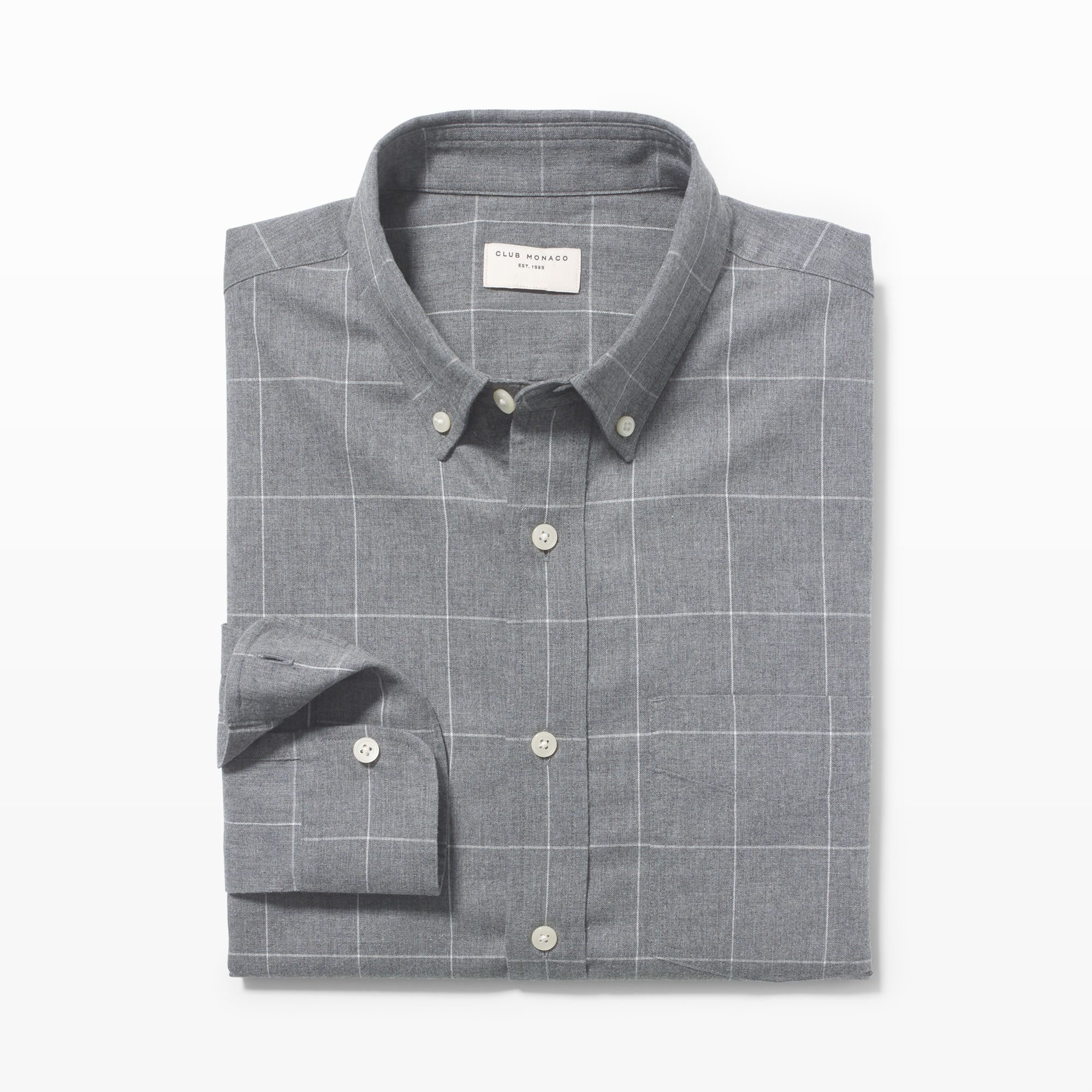 Lyst club monaco slim fit flannel check shirt in gray for Trim fit flannel shirts