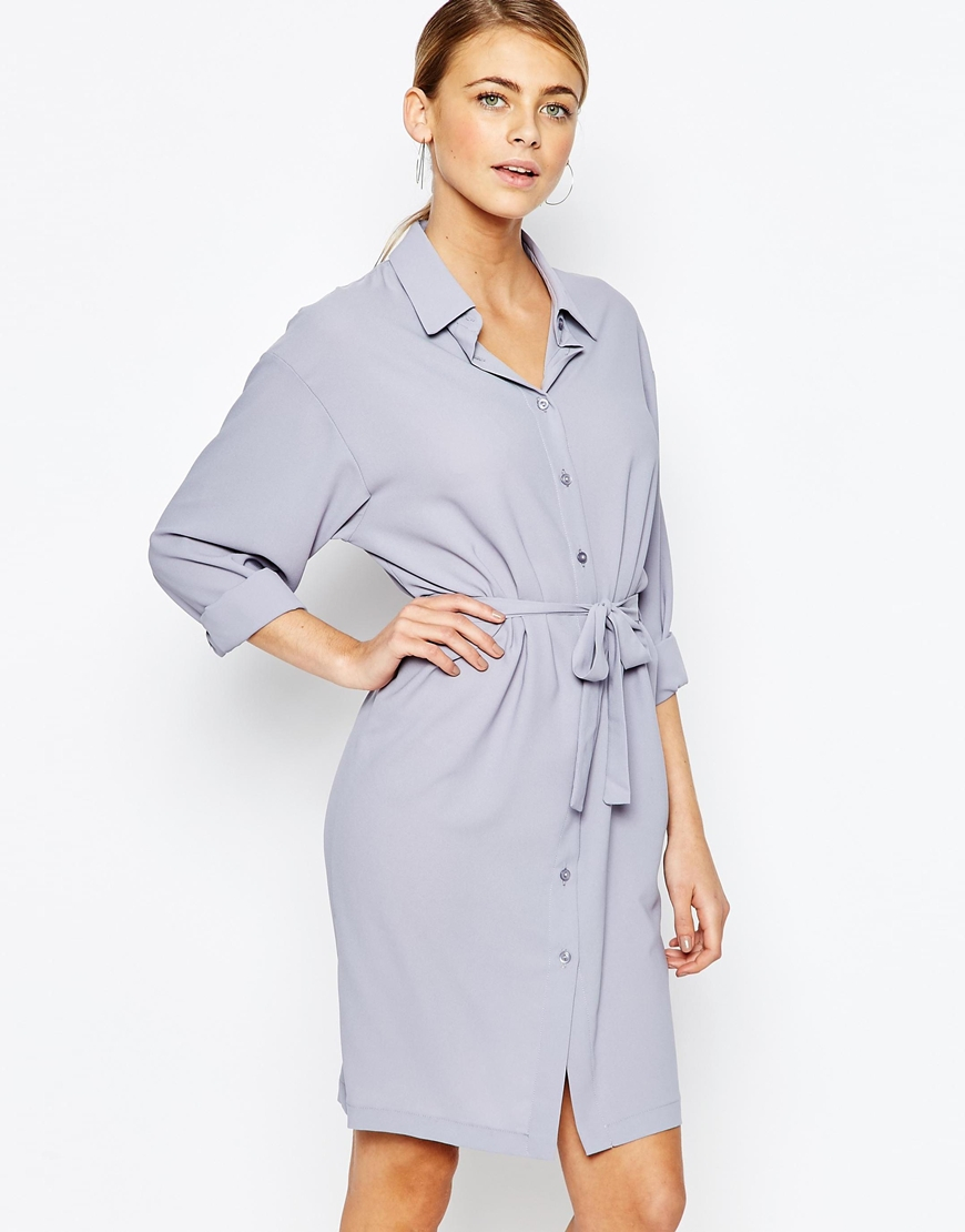 latest discount reasonable price reasonably priced Love Chiffon Shirt Dress in Grey (Gray) - Lyst