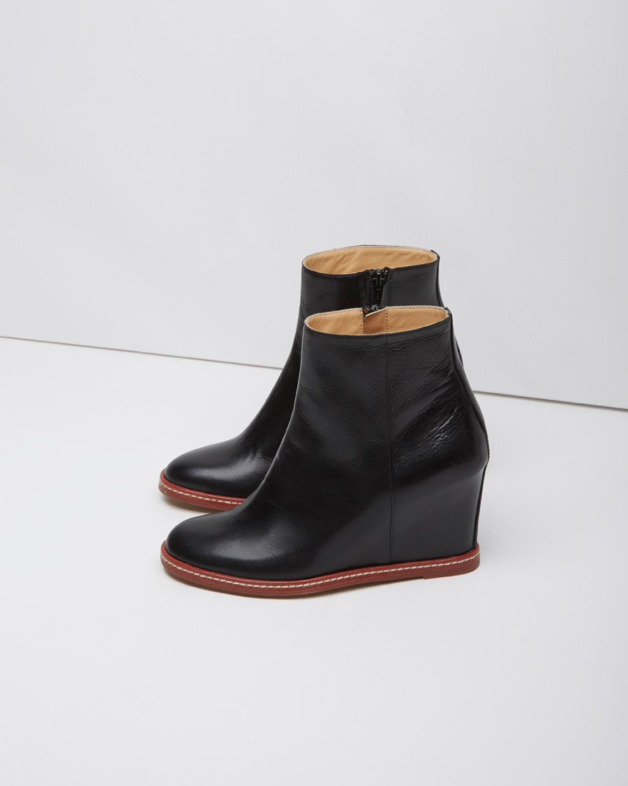 mm6 by maison martin margiela leather wedge boots in black