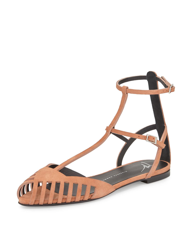 Giuseppe Zanotti Laser-cut Caged Suede Flat Sandal In ...