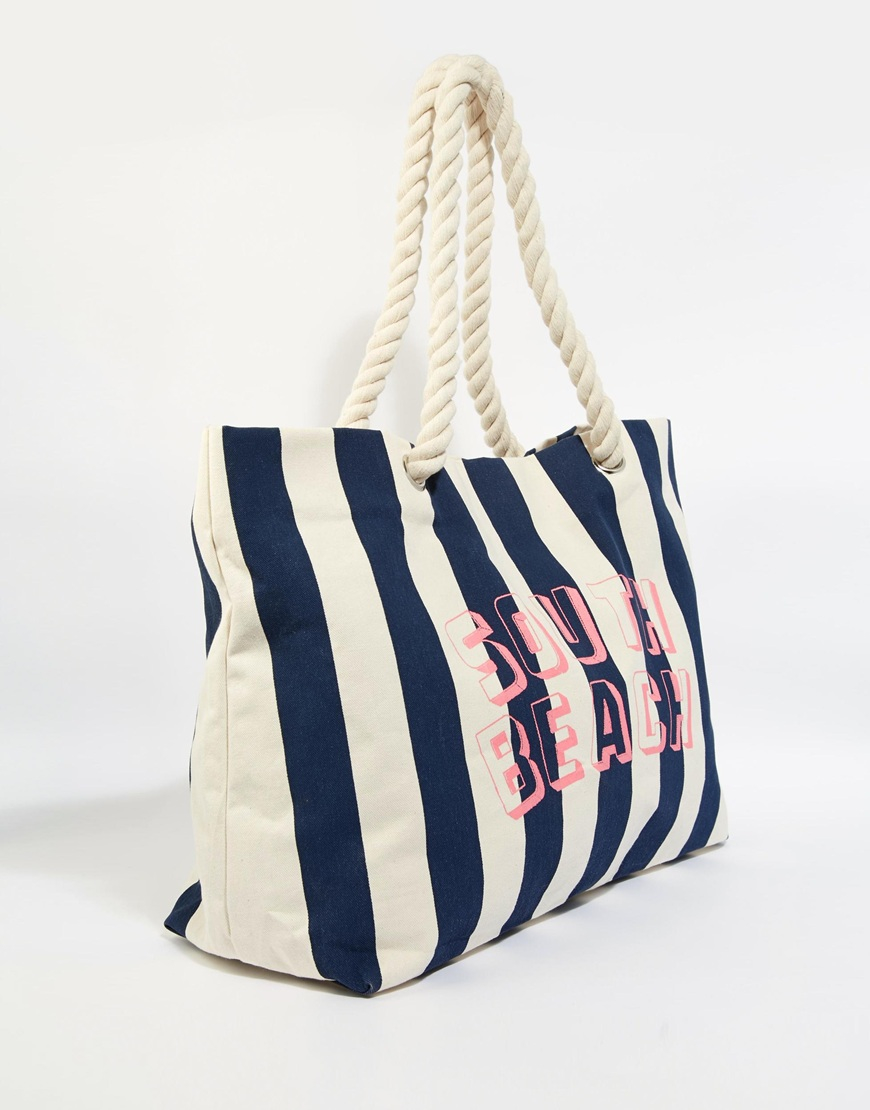 South beach Navy Striped Beach Bag With Rope Handle in White | Lyst