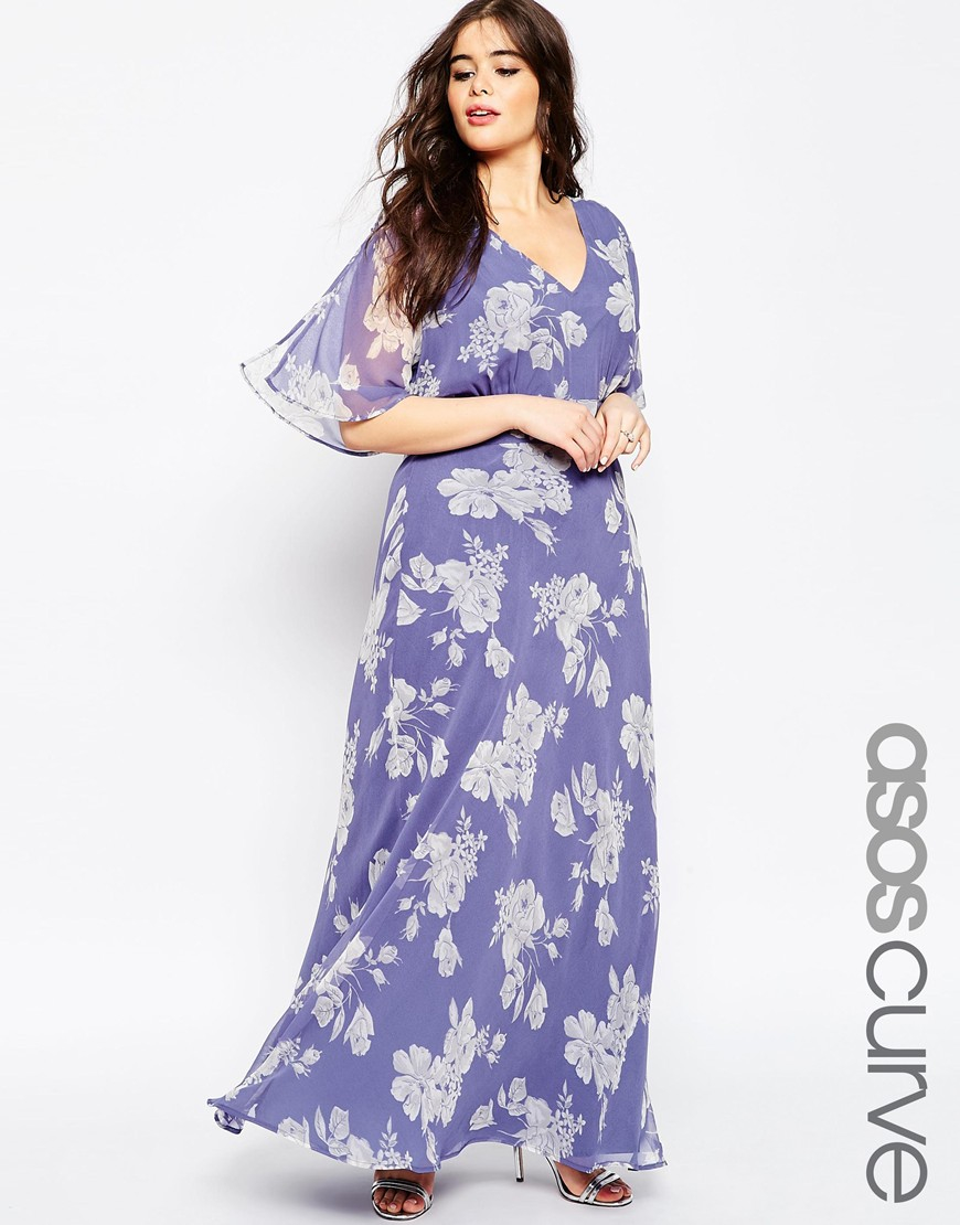 Asos curve wedding maxi dress in soft rose print in blue for Print maxi dress for wedding