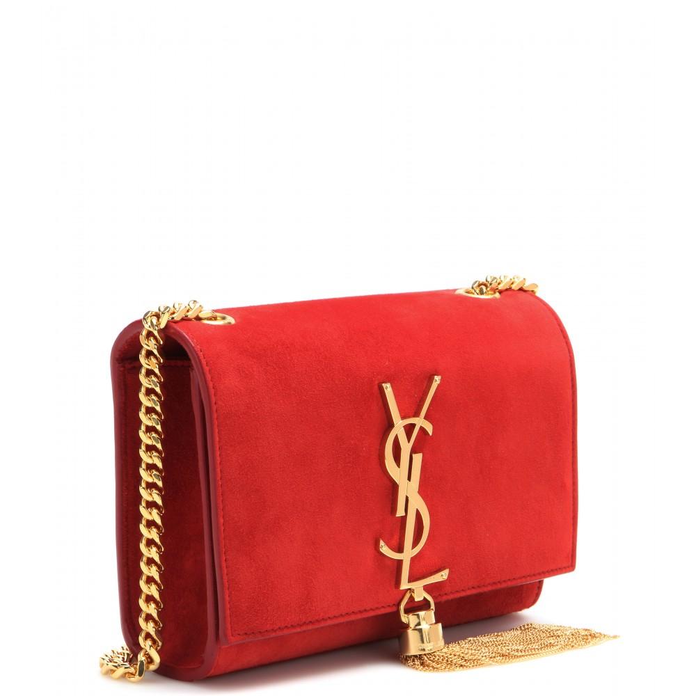 f29a8b65f15a Lyst - Saint Laurent Classic Monogram Suede Shoulder Bag .