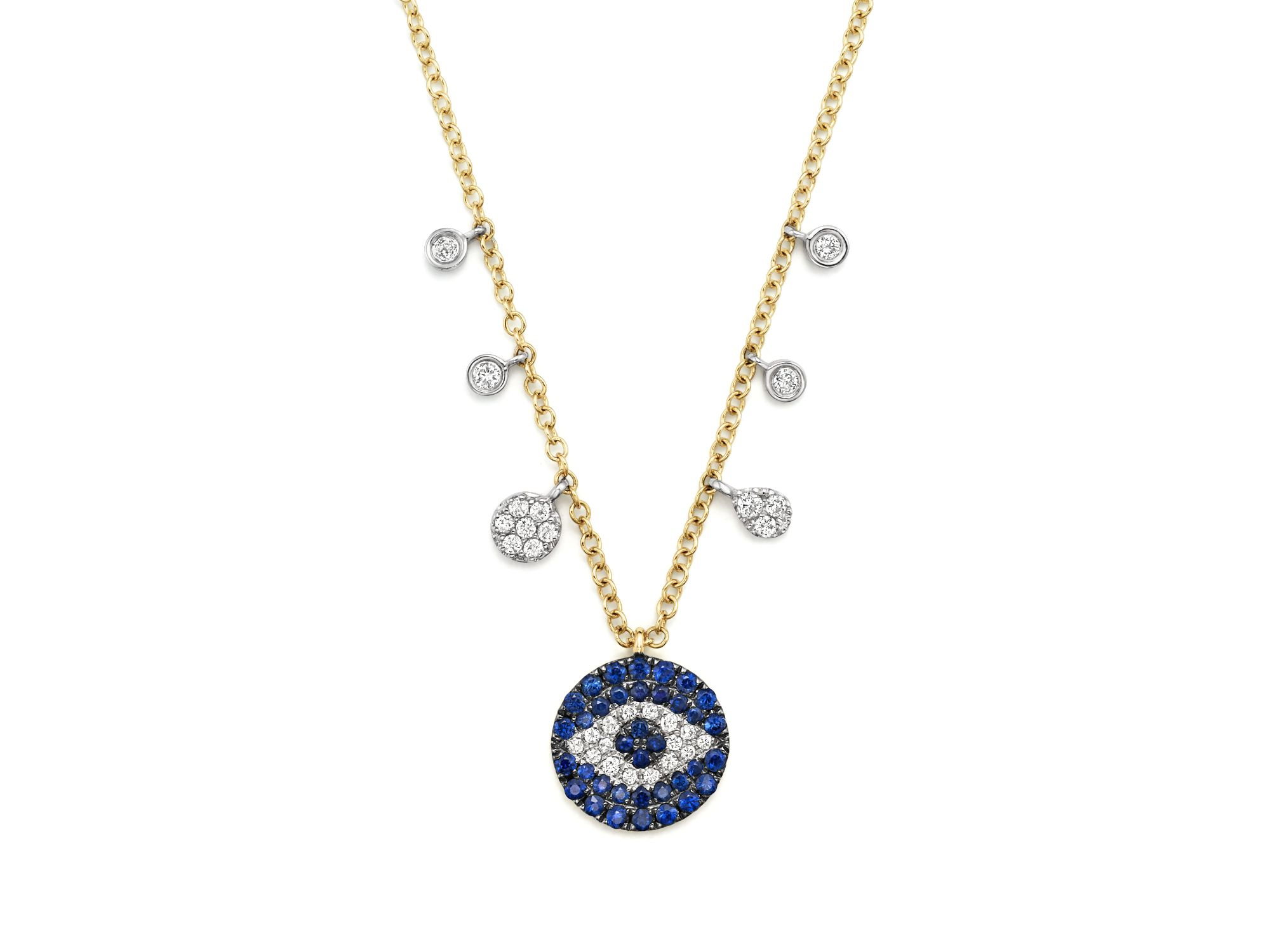 meira t sapphire and diamond evil eye necklace in 14k. Black Bedroom Furniture Sets. Home Design Ideas