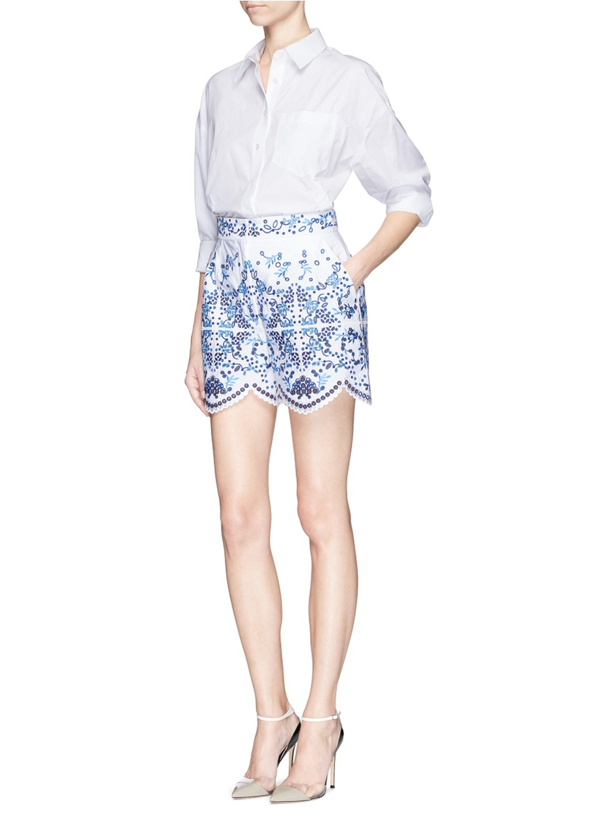 Dolce Amp Gabbana Maoilica Broderie Anglaise Shorts In Blue