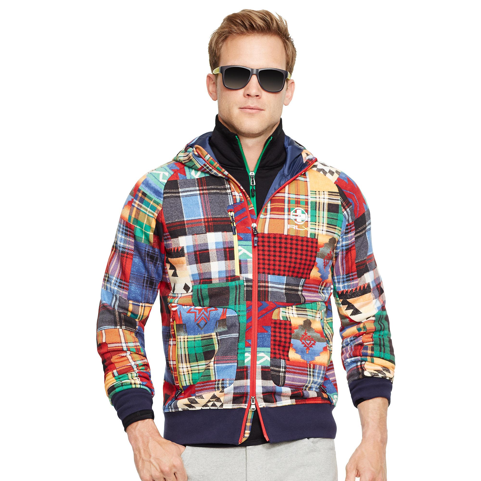 ac4d640c0687 ... reduced lyst ralph lauren patchwork cotton terry hoodie for men 6933c  de783