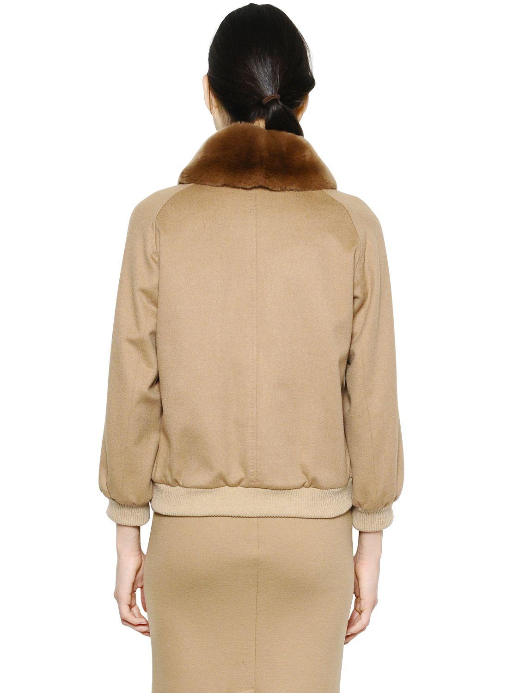Lyst Max Mara Rabbit Fur Amp Camel Bomber Jacket In Brown