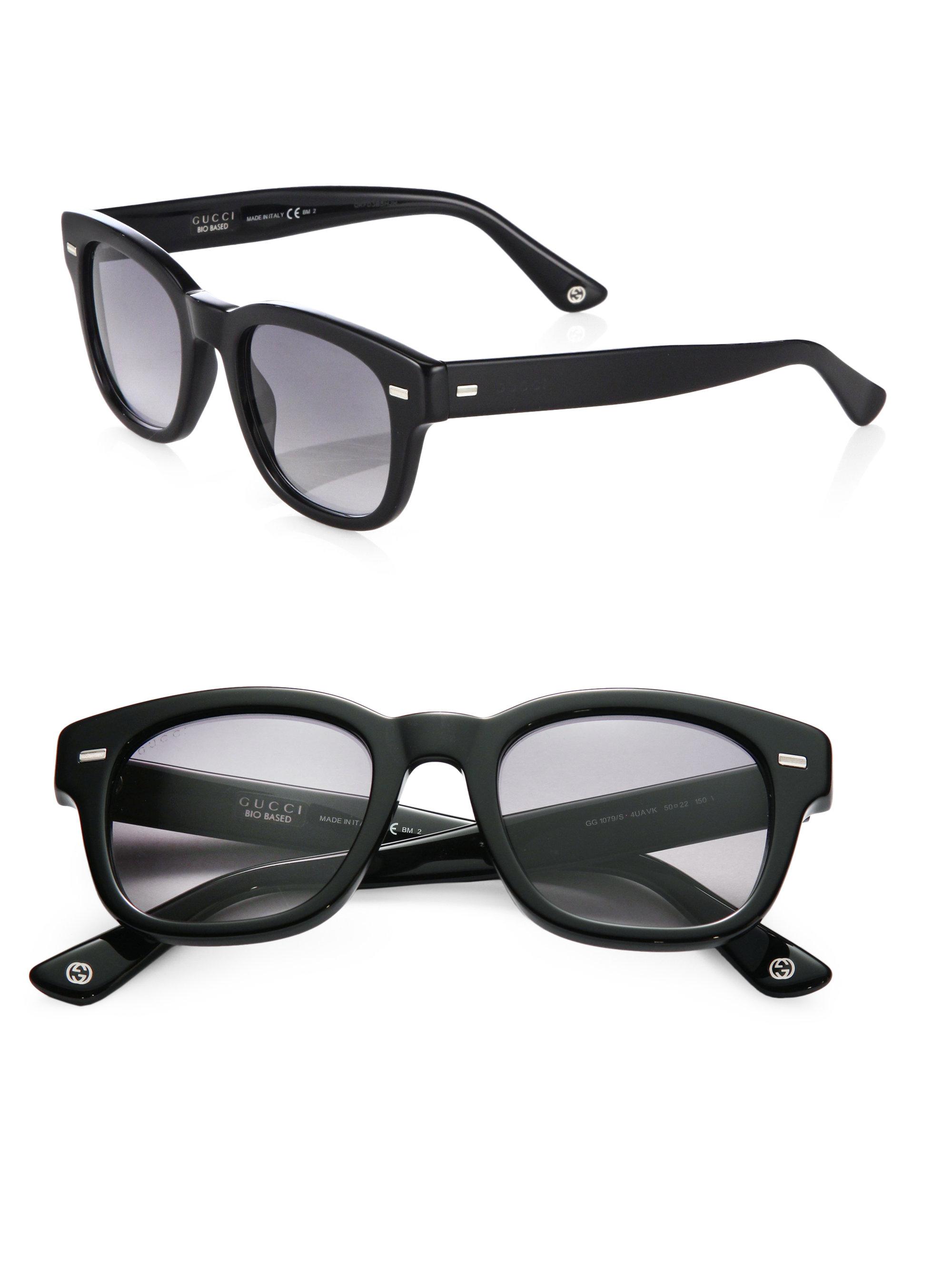 6a03e5f2b05 Gucci Acetate Wayfarer Sunglasses in Black for Men