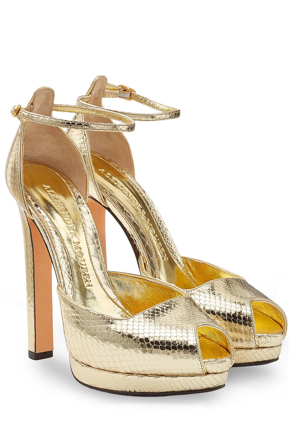 Lyst Alexander Mcqueen Metallic Leather Platform Sandals