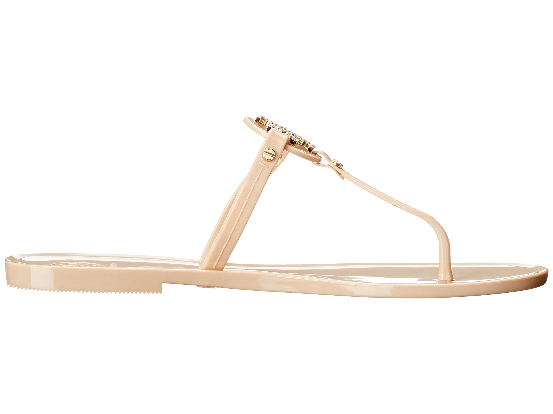 0d0eea70df96f4 Lyst - Tory Burch Mini Miller Jelly Thong W  Crystals in Natural