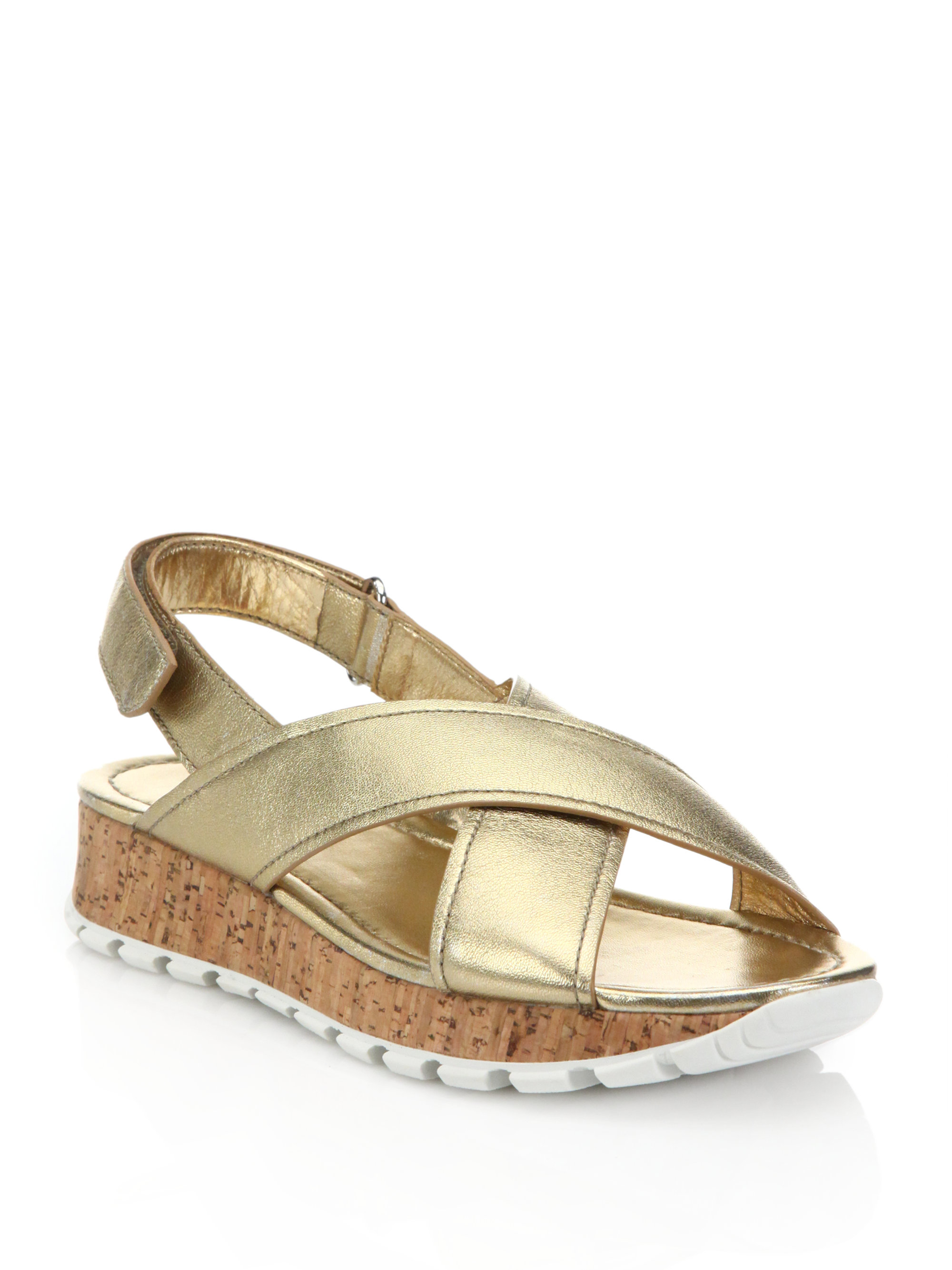 best replica prada bags - Prada Metallic Leather Cork Sandals in Gold   Lyst