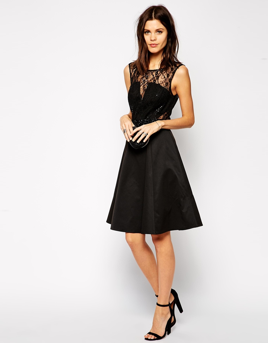 9b4a1ea954 Lyst - Lipsy Lace Midi Skater Dress With Embellished Waist in Black