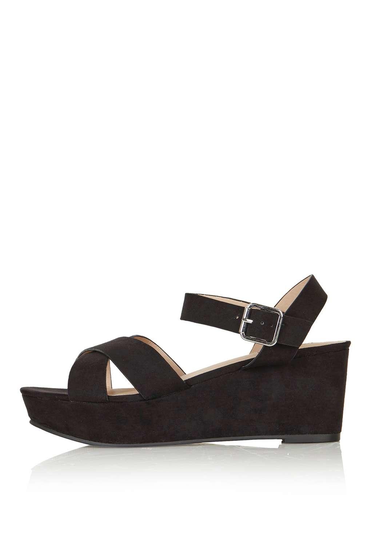 topshop hippy wedge shoe in black lyst