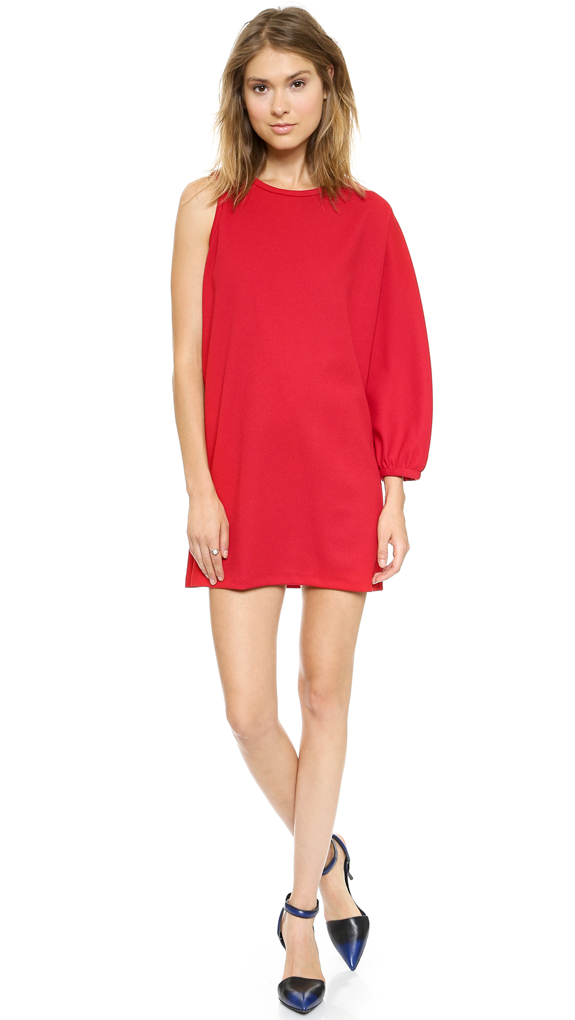 Cynthia Rowley Pique One Shoulder Tunic Black In Red Lyst