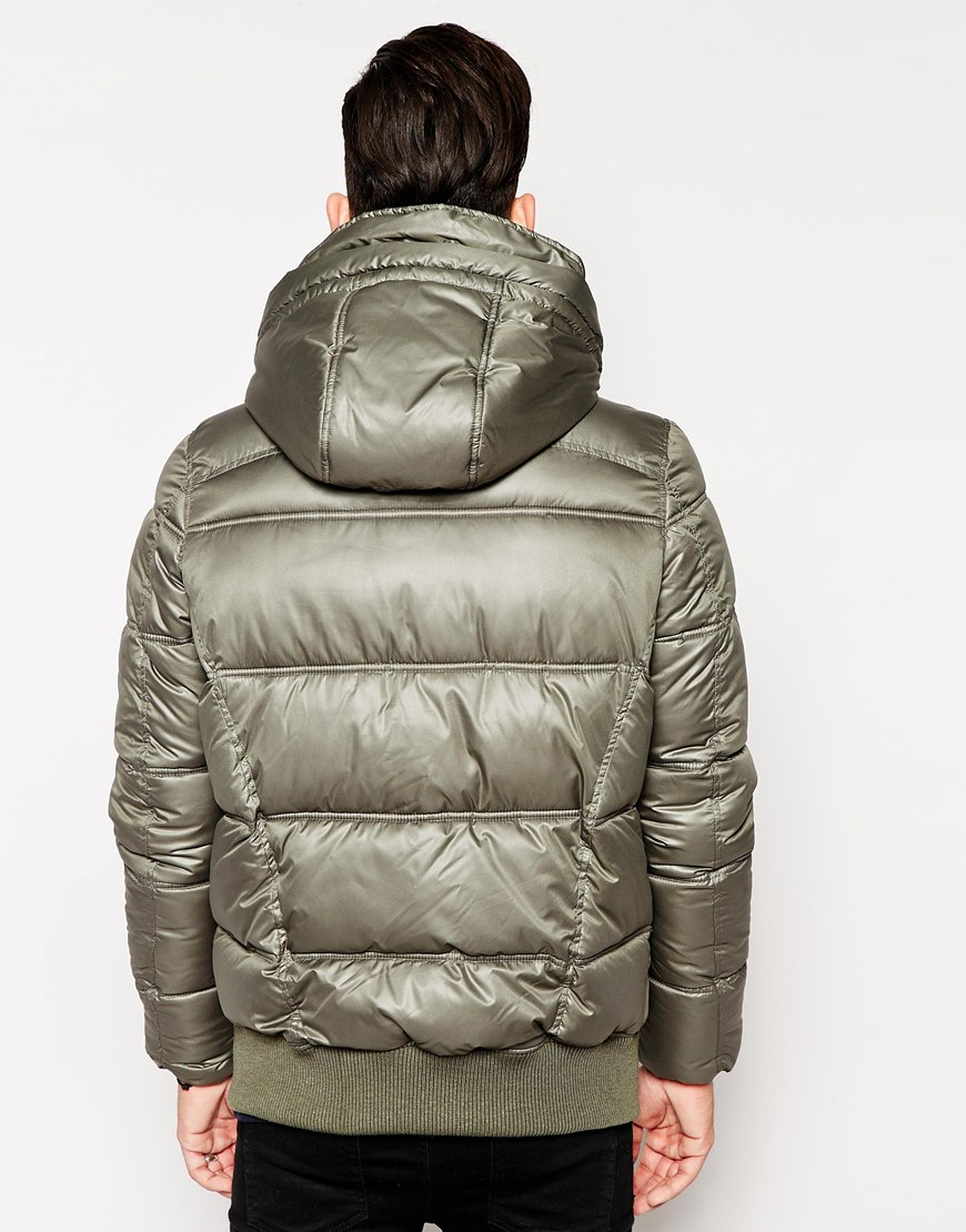 g star raw g star quilted bomber jackets whistler nylon hooded in gray for men lyst. Black Bedroom Furniture Sets. Home Design Ideas