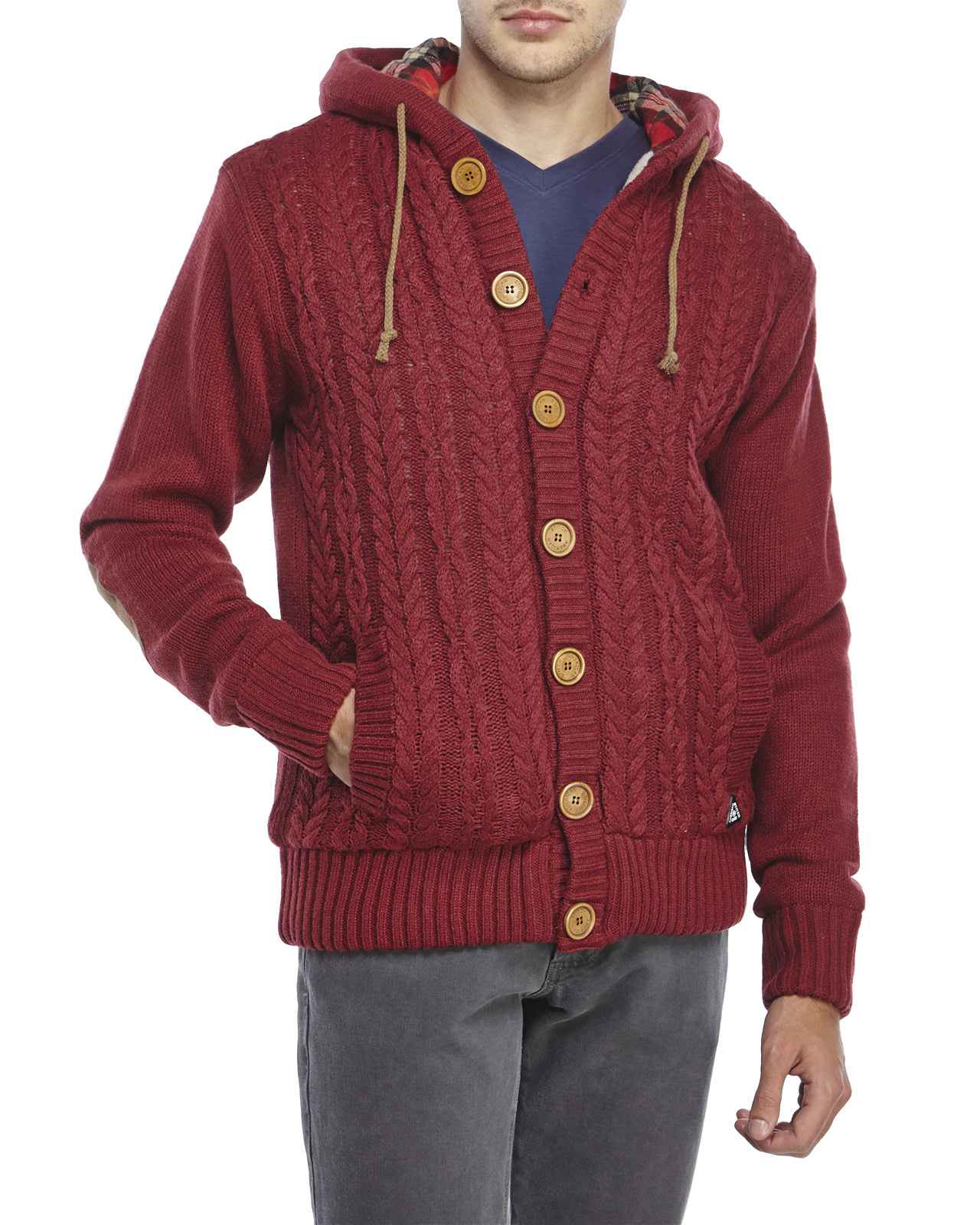 American stitch Cable Knit Hooded Cardigan in Red for Men | Lyst